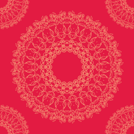 indian summer: Floral zentangl ornament on a colorful background for your project