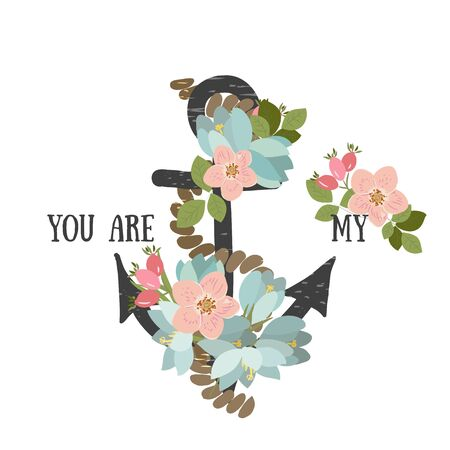 crocus: Vector background with flowers Crocus and anchor