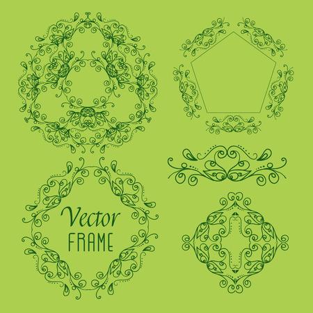 indische muster: Sammlung Handzeichnung f�r Ihr Projekt Vektor-Rahmen