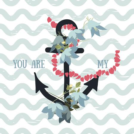 bellflower: Vector background with flowers bellflower and anchor Illustration