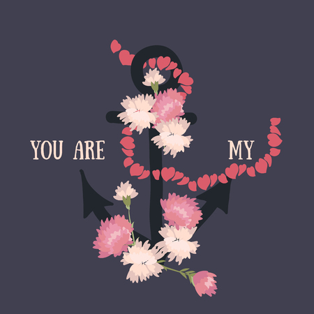 carnation: Vector background with flowers carnation and anchor
