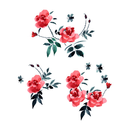 japanese garden: Greeting card with flower roses painted in watercolor. Chinese and Japanese painting sumi-e