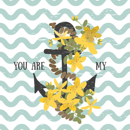 wort: Vector background with anchor with herb st. johns wort  flower and anchor
