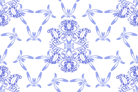 craft ornament: Illustration with floral ornament in blue tones. Russian folk craft, style Gzhel for souvenirs and creative