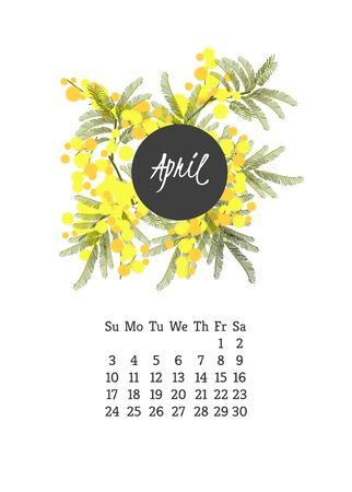 campanula: Calendar for 2016 with flowers mimosa  for your design