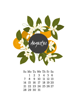 orange blossom: Calendar for 2016 with flowers orange blossom for your design Illustration