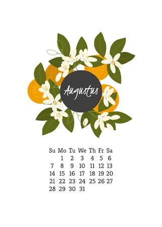 Calendario per il 2016 con fiori d'arancio per la progettazione