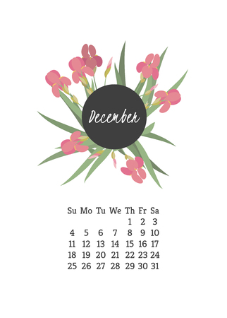 campanula: Calendar for 2016 with flowers iris for your design