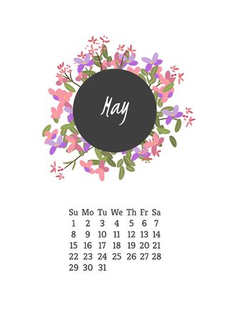 campanula: Calendar for 2016 with flowers arabis for your design Illustration