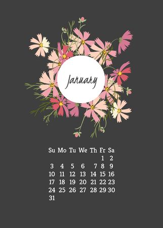 cosmos flower: Calendar for 2016 with cosmos flower for your design