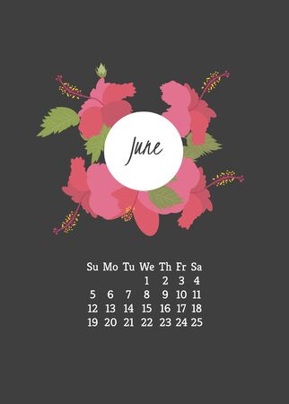 campanula: Calendar for 2016 with flowers hibiscus  for your design