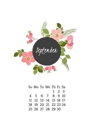 wild rose: Calendar for 2016 with flowers wild rose  for your design