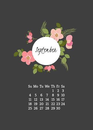 eglantine: Calendar for 2016 with flowers wild rose  for your design