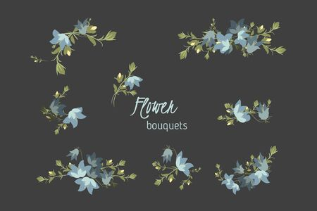 bellflower: Floral bellflower retro vintage background Illustration
