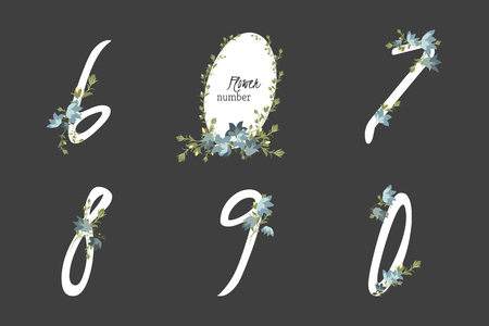 bellflower: Floral bellflower collection numbers in vintage color. Six, seven, eight, nine, zero- signs Illustration