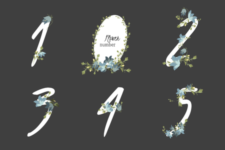 bellflower: Floral bellflower collection numbers in vintage color. One, two, three, four, five - signs Illustration