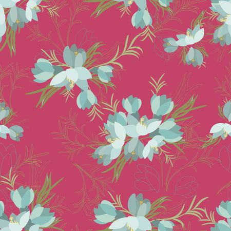 crocus: Floral crocus retro vintage background Illustration