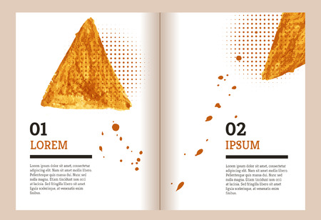 halftones: Brochure template with gold watercolor spot