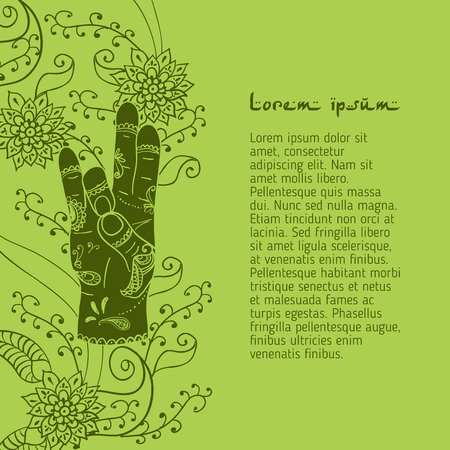 budda: Element yoga apan Prithivi mudra hands with mehendi patterns.