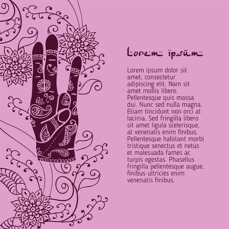 budda: Element yoga Surya mudra hands with mehendi patterns.