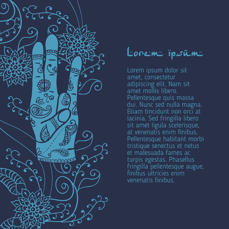 peace movement: Element yoga Surya mudra hands with mehendi patterns.