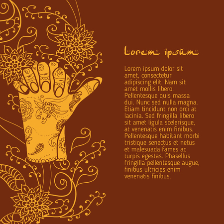 budda: Element yoga Turtle mudra hands with mehendi patterns.