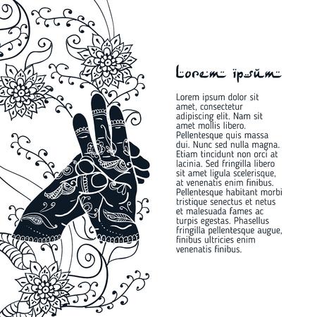budda: Element yoga varun mudra hands with mehendi patterns. Illustration