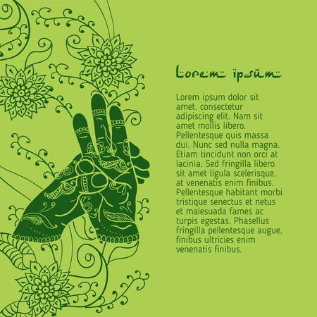 budda: Element yoga varun mudra hands with mehendi patterns. Illustration
