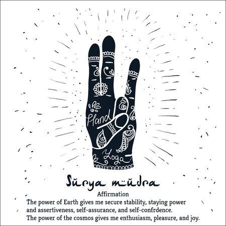 budda: Element yoga Surya mudra hands with mehendi patterns.