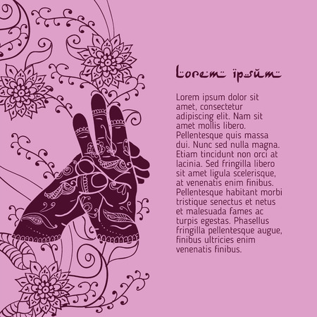 peace movement: Element yoga varun mudra hands with mehendi patterns. Illustration