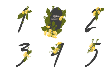 four in one: Floral Dandelion collection numbers in vintage color. One, two, three, four, five - signs