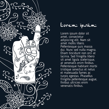 budda: Element yoga apan vayu mudra hands with mehendi patterns Illustration