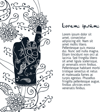 mehendi: Element yoga apan vayu mudra hands with mehendi patterns Illustration