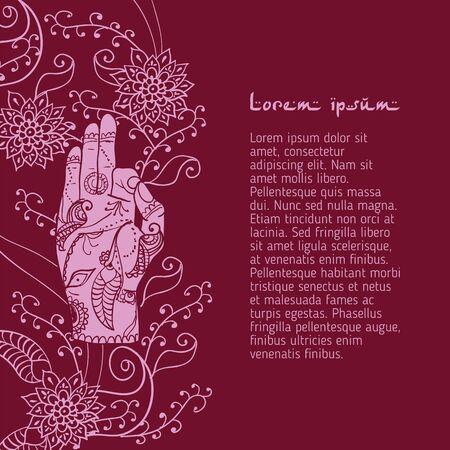 jnana: Element yoga jnana mudra hands with mehendi patterns.