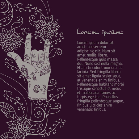 attracting: Element yoga attracting love mudra hands with mehendi patterns.