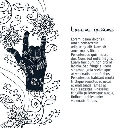 mehendi: Element yoga attracting love mudra hands with mehendi patterns.