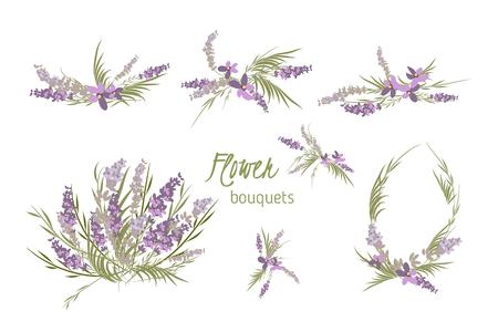 Bloemen lavendel retro vintage achtergrond, vector illustratie Stock Illustratie