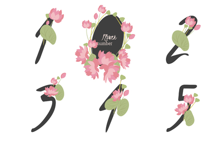 four in one: Floral lotus collection numbers in vintage color. One, two, three, four, five - signs vector