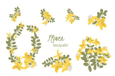 wort: Floral  St. Johns wort retro vintage background, vector illustration