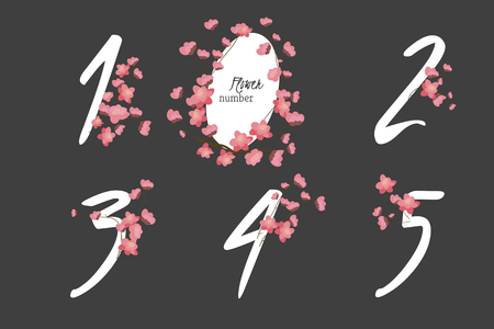 four in one: Floral sakura collection numbers in vintage color. One, two, three, four, five - signs vector