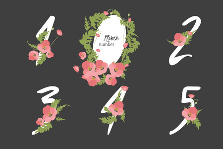 four in one: Floral poppy collection numbers in vintage color. One, two, three, four, five - signs vector
