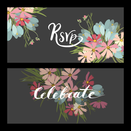 crocus: Floral cosmos flowers and crocus retro vintage background, vector illustration Illustration