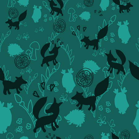 Animal pattern with wild animals. Animals fox, hedgehog, an owl in a vector illustration. Suitable for prints, scrapbooking, fabric, background for site