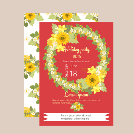 Floral sunflower, narcissus, strawberry flowers retro vintage background, vector illustration