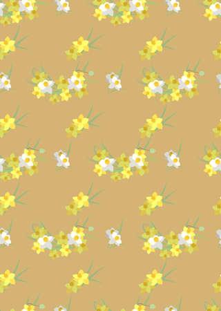 narcissus: Floral  narcissus retro vintage background, vector illustration