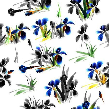 Floral pattern with flowers and leaves of blue iris, hand watercolor painting.
