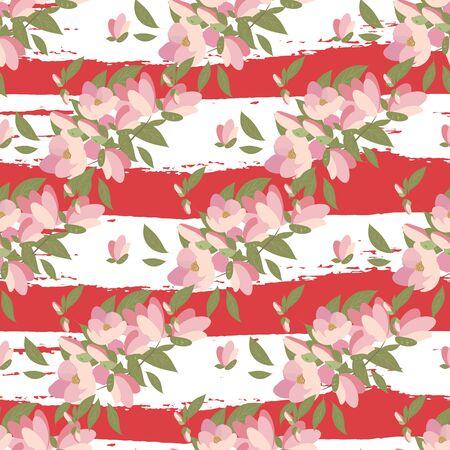 magnolia: Floral magnolia retro vintage background, vector illustration