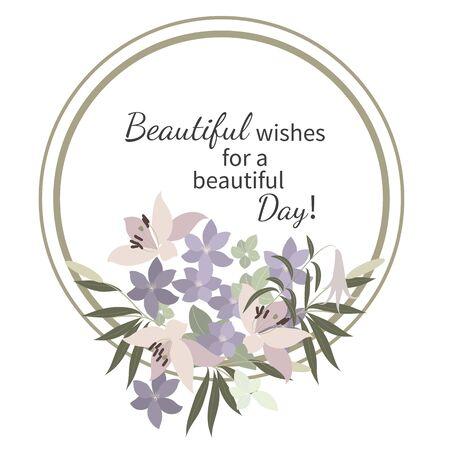 tarjeta de felicitación del vector con el lirio rosado y violeta Arabis arreglo floral para su celebración Ilustración de vector