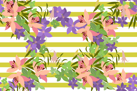 Vector greeting card with pink lily and violet arabis flower arrangement for your celebration