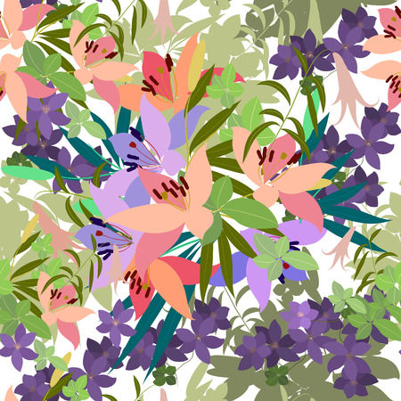 flower arrangement: Vector greeting card with pink lily and violet arabis flower arrangement for your celebration